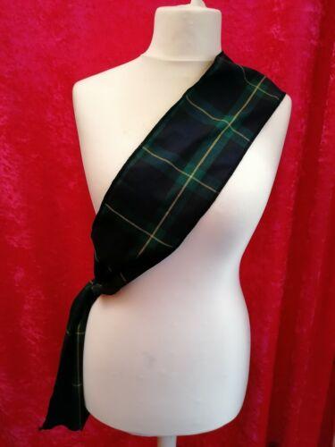 6ft Black and Green Tartan Sash Burns Night Fancy Dress Scottish Budget Sash