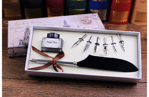Quill Pen with Black Feather Antique Luxury Quill Pen with Ink Jar No Ink
