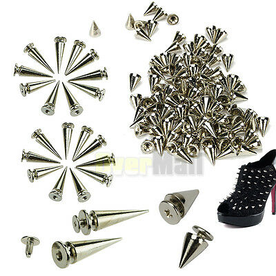 100x10mm +20x26mm Spots Cone Screw Metal Studs Leathercraft Rivet Bullet Spikes