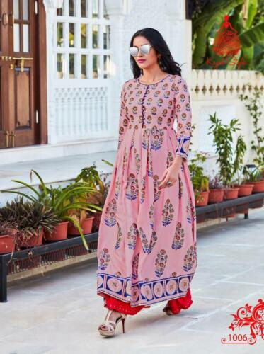 Indian Bollywood Designer indo western gown Kurta Kurti women ethnic dress ka05
