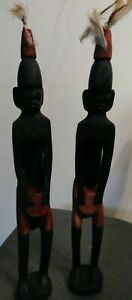 Vintage-Carved-Wood-Native-Tribal-African-Figurine-13-034-tall-drums-ebony