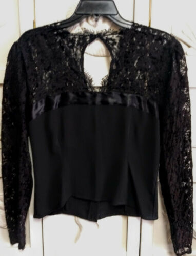 Anne Klein Women's Top Blouse Black Lace Size 6 Cu