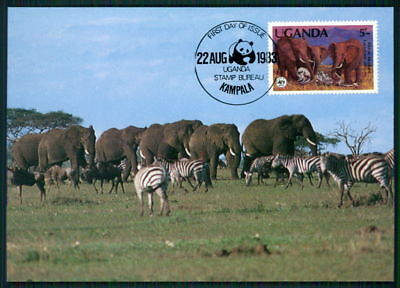 Uganda Mk Wwf Fauna Elefant Elephant Zebra Maximumkarte Maxi Card Mc Cm Ar83 Eine Lange Historische Stellung Haben Motive Maximumkarten