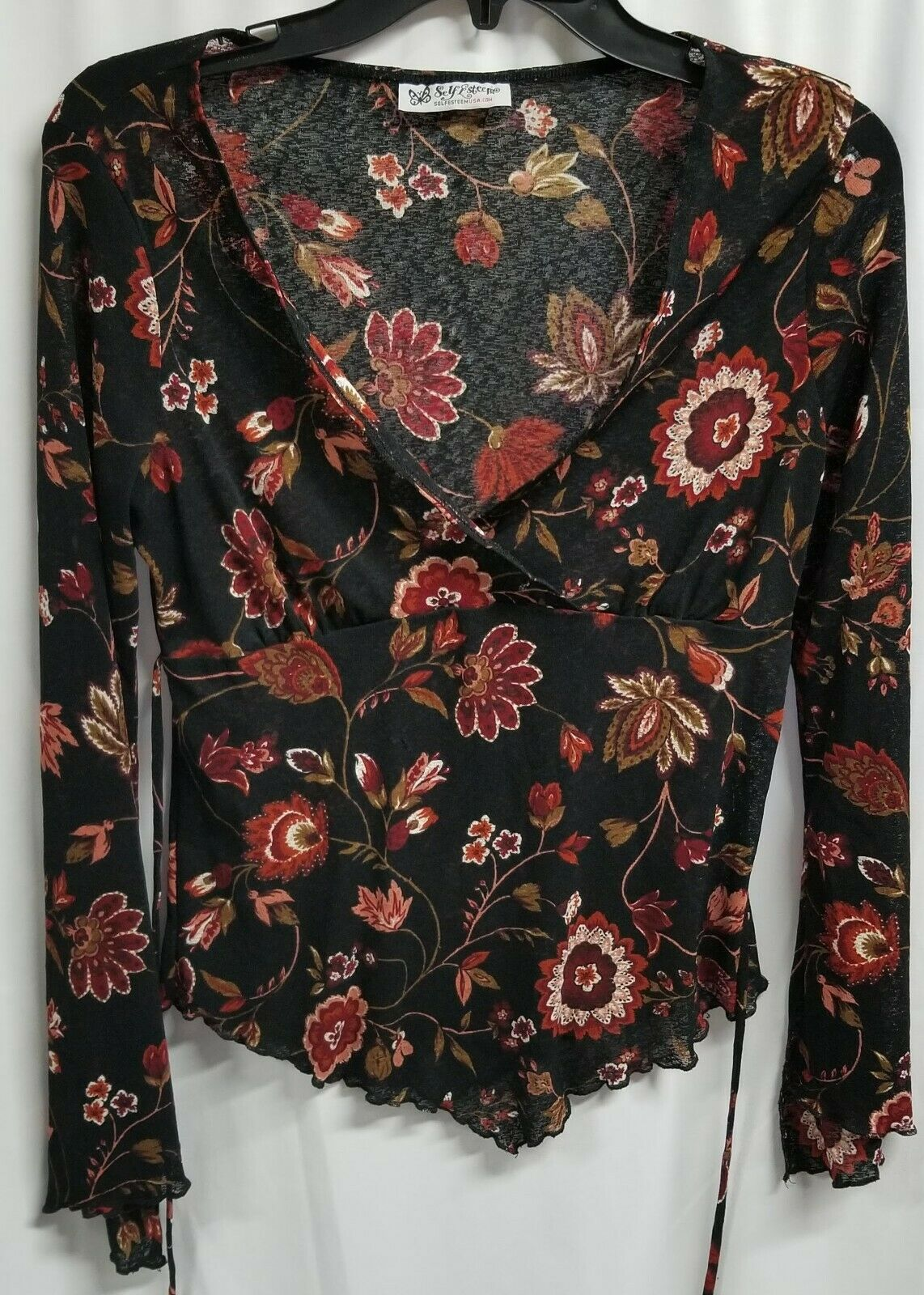 Self Esteem Long Sleeve Sheer Floral Top Size Est M 7