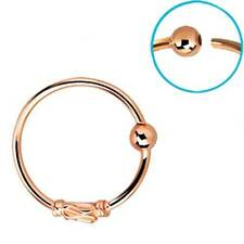 """Rose Gold Plated Sterling Silver Nose Ring Hoop 5/16"""" Bali Style 22 Gauge 22G"""
