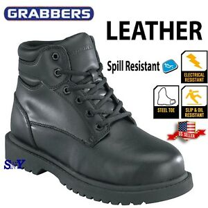 45920a0307b Details about Grabbers Men's work steel toe boot slip oil resistant leather  electrical hazard