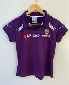 AFL-FREEMANTLE-DOCKERS-RBK-LG-women-039-s-fitted-supporter-039-s-polo-t-shirt-size-12
