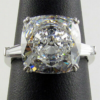 SPECIAL ORDER 14K STERLING SILVER R00265 6CT CZ CUSHION / BAGUETTE 3 STONE RING