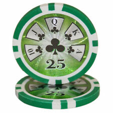 "25 ct Green $25 Twenty-Five Dollars ""Hi Roller"" Series 14g Poker Chips Laser Gfx"