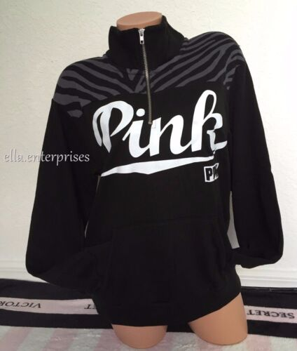 Half M Black Zebra Secret Pink S Sweater Boyfriend White Victoria's Zip xEFvq6Y6