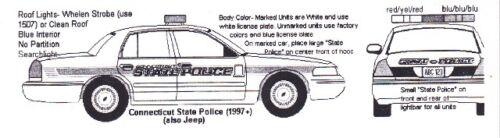 CONNECTICUT  State Police 1//64th HO Scale Slot Car Waterslide Decals