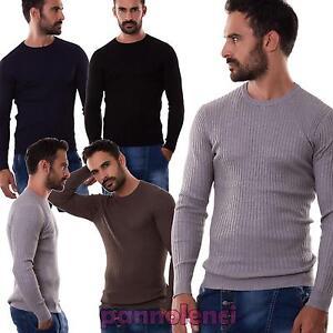 Maglione-uomo-maglia-pullover-maglioncino-costine-girocollo-nuovo-T-106