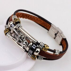 Image Is Loading Leather Men Accessoires Tibetan Silver Male Bracelet Parataxis