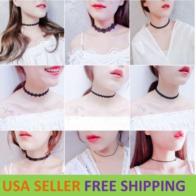 Retro Hollow Lace Choker Chain Flower Necklace Lady Collar Chocker Jewelry LS