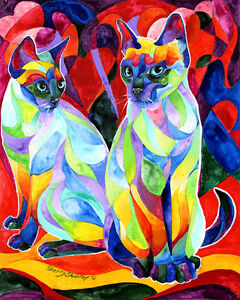 SIAMESE-SWEETHEARTS-8X10-Framed-Original-Art-on-canvas-Sherry-Shipley