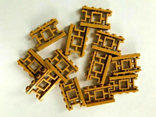 NEW #32932-PEARL GOLD-1 X 4 X 2 FENCE-ASIAN LATTICE-12 PIECES LEGO PARTS