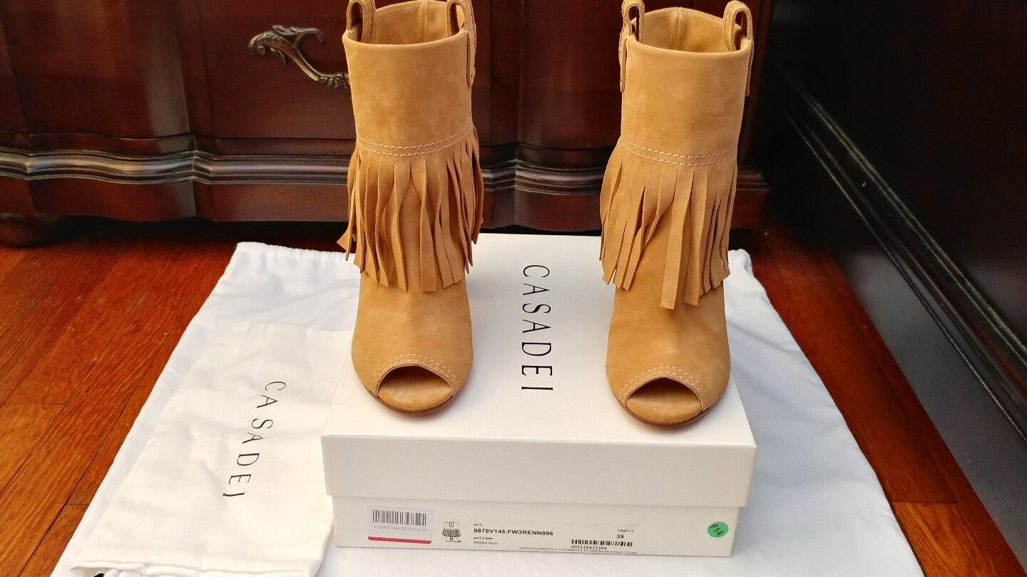 New Casadei Ankle Boots, Tan, 39/9, retail $940