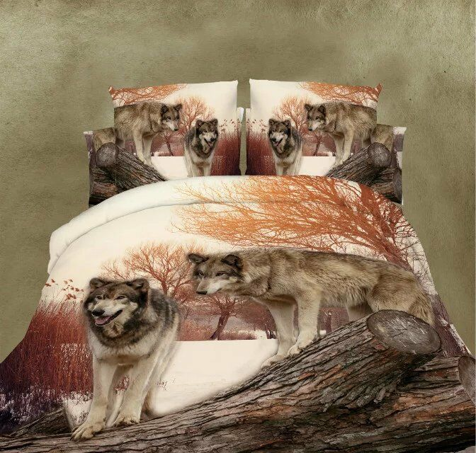 3D Wolf Animal Sheet Duvet Cover Pillowcases Bedding Bed Sets 4pcs Queen