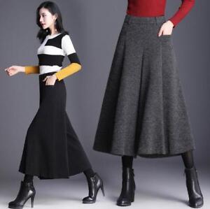 Womens-Wide-Leg-Pants-Long-Wool-Blend-Trouser-Pantskirt-Culottes-Casual-Nine-V94