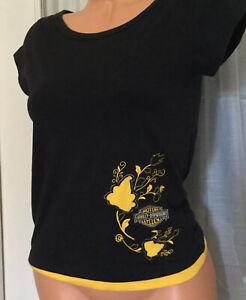 Harley-Davidson-Embroidered-T-shirt-Biker-Womens-medium-Black-Yellow-Visalia-CA