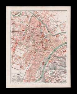 Turin Torino Italy Antique City Map 1909 Ebay