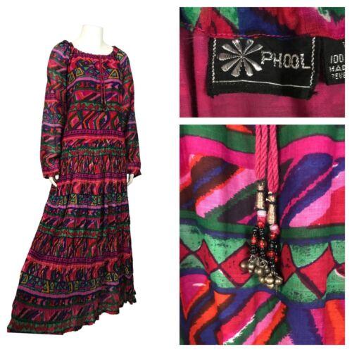 1970s Phool India Cotton Dress / Pink Cotton Gauze