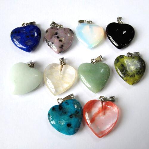 30x Mixte pierre naturelle Fantôme QUARTZ cristal cœur trouver Charms Perles Pendentifs