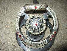 STUNNING, GORGEOUS! SILVER D RING SNAFFLE BIT WITH RED CRYSTALS, 5""