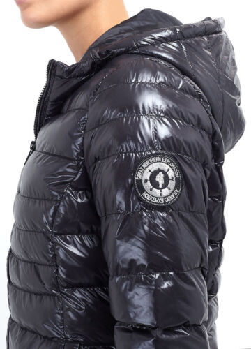 New Womens Brave Soul Wet Look Shiny Quilted Padded Hooded Puffer Ladies Jacket