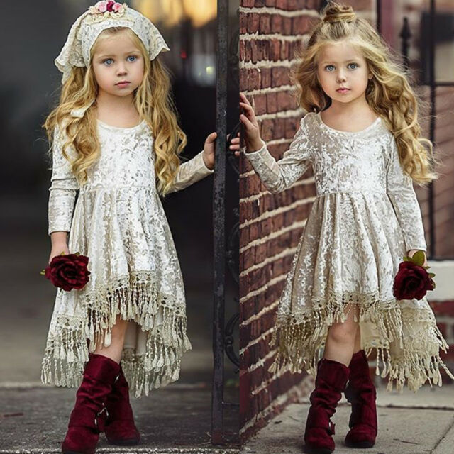 Easter Princess Baby Flower Girls Dress Velvet Tassel Party Dress Gowns Formal
