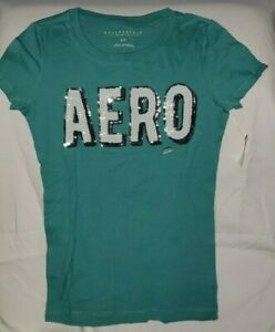 AEROPOSTALE-WOMEN-039-S-AERO-LOGO-GRAPHIC-T-SHIRT-Green-LARGE-NWT