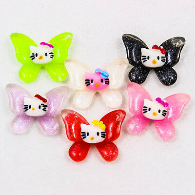 Cute Butterfly Hello Kitty Resin Scrapbooking Flatback Cabochons DIY Craft R0183