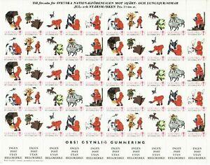 S26886) Sweden 1973/74 MNH Tuberculosis Christmas Sheet God Helg Cinderella