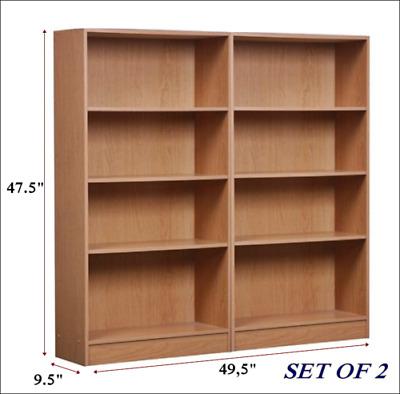 Exceptionnel Bookcase 4 Shelf WIDE Set Of 2 Oak Bookshelf Adjustable Shelving Storage  Shelves 771458423405 | EBay