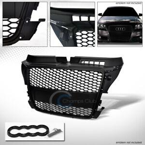 Fits-08-11-Audi-A3-8P-Matte-Blk-Rs-Honeycomb-Mesh-Front-Hood-Bumper-Grill-Grille