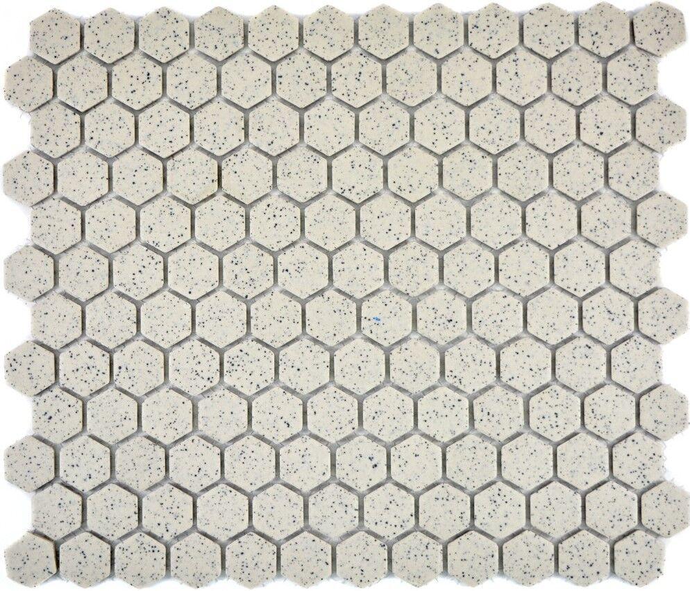 Mosaik Fliese Keramik creme Hexagaon rutschhhemmend   11A-0103-R10_f  10Matten