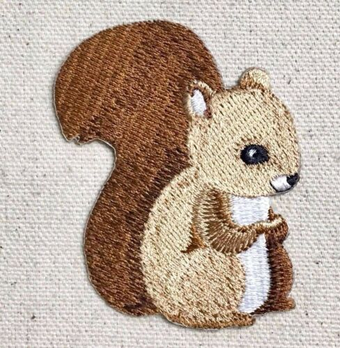 Animals Iron on Applique//Embroidered Patch Baby Squirrel Facing Right