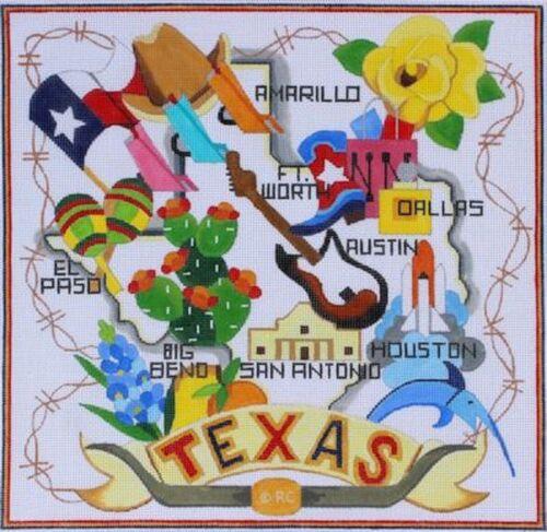 Needlepoint Handpainted Raymond Crawford Texas 10x10
