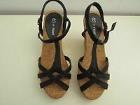 NEXT Ladies black sandals leather and cork wedge shoes size 6 NEW