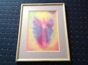 GLENYSS-BOURNE-2000-SIGNED-ANGEL-BEAUTIFUL-SPIRITUAL-HEALING-WATERCOLOUR