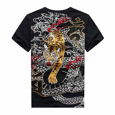 Mens T-Shirt High Quality Japanese Pattern Embroidery Dragon Tiger Black White