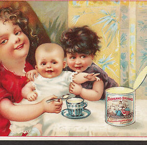 1800-039-s-Milk-Highland-Brand-Condensed-Cream-Teacup-Tin-Can-Advertising-Trade-Card