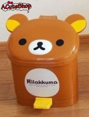 San-x Rilakkuma Wastebadket Pedal Trash Can Dustbin Brown