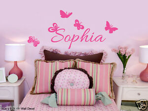 PERSONALISED-NAME-amp-BUTTERFLIES-Kids-Removable-Wall-Decal-for-kids