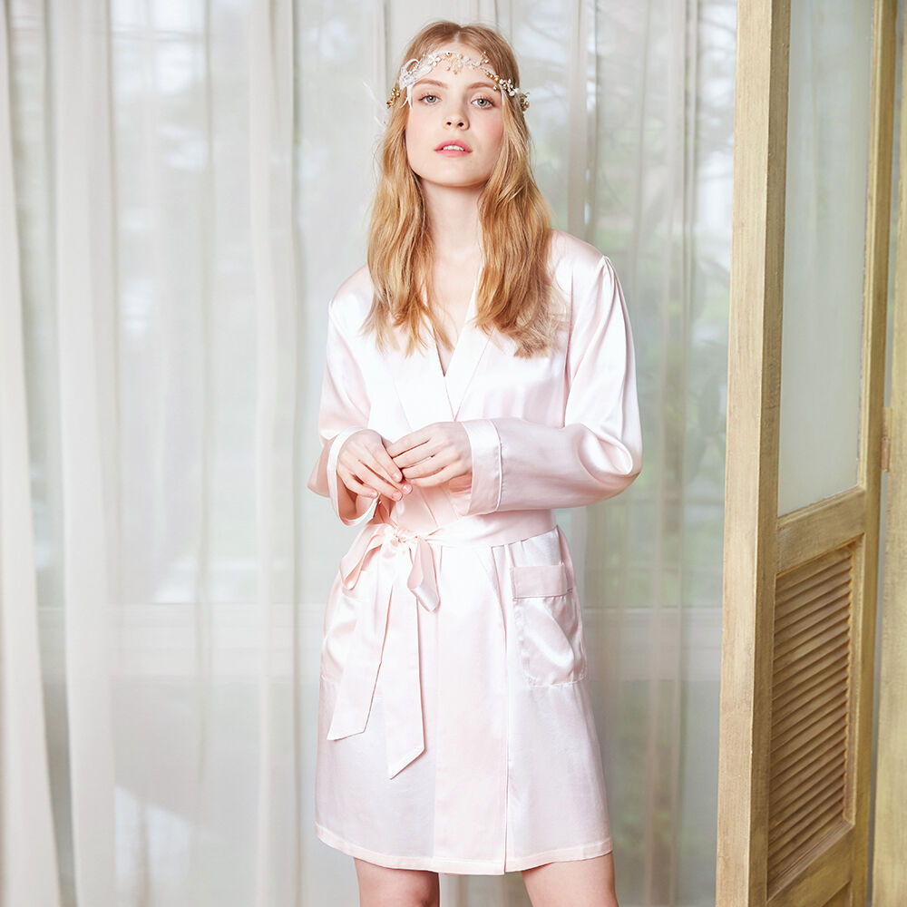 NEW LILYSILK Mid Length Silk Robe for Women 22 Momme 100 Mulberry Wedding Bridal