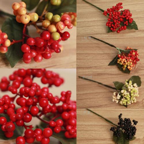 1 Bouquet Artificial Flower Berry Silk Leaf Home Party Wedding Garden Decor DIY