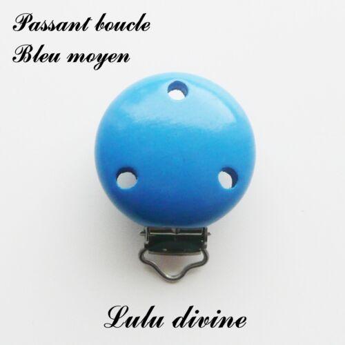 passant boucle Clip en bois Pince attache tétine Bleu moyen