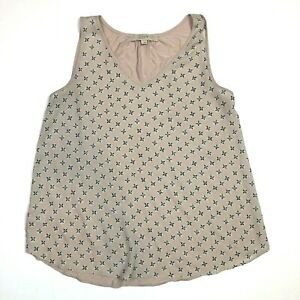 Ann taylor loft sleeveless printed floral blouse mauve pink size small