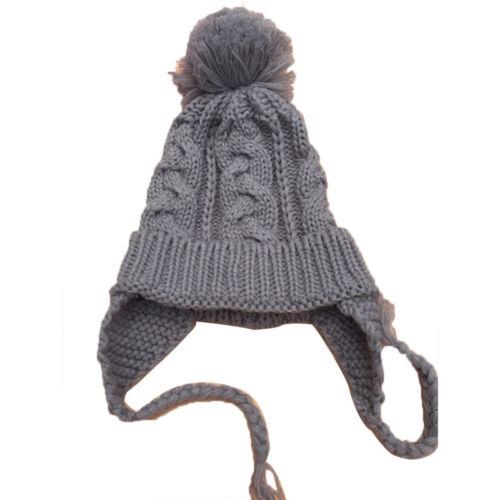 Kids Baby Girl Fur Pom Hat Winter Warm Knit Bobble Beanie Cap Tie Ear Protection