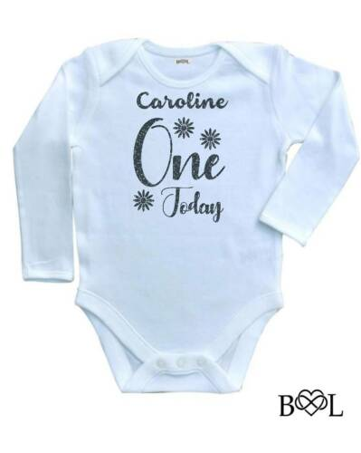 BABY GIRL BABYGROW 1ST BIRTHDAY VEST GIFT NAME PERSONALISED ONE TODAY TOP LONG